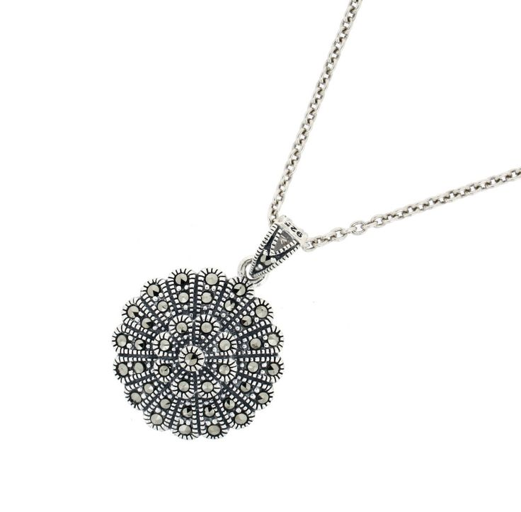 """Marcasite Pendant & Chain €80.00 Sterling Silver Hallmarked in Dublin Round pendant on a standard 18"""" sterling silver chain. Presented in a """"Chicago Marcasite Jewellery"""" Box & Bag"""