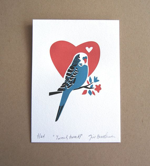 Parakeet Limited Edition Letterpress Art Print by JillyJackDesigns, $20.00