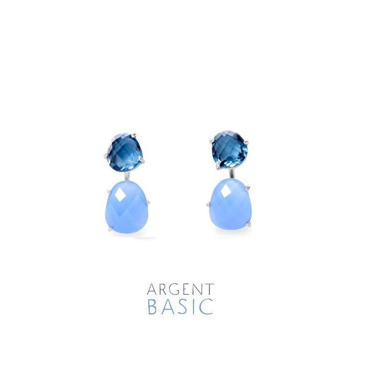 Pendientes doblesde plata y cristal facetado con dos tonos de azul en contraste: serenity y navy blue.