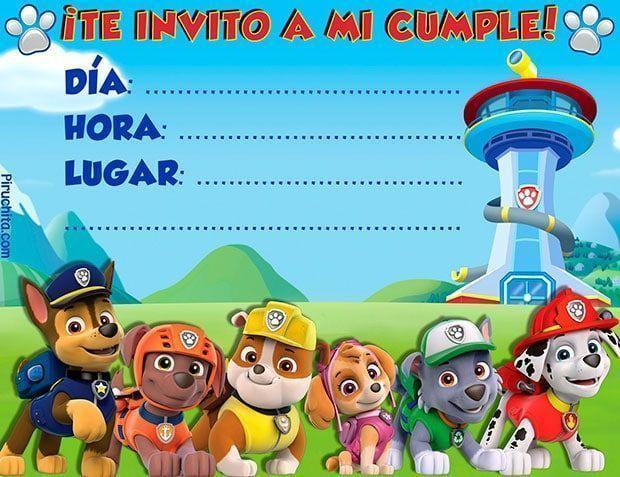 Invitación De Cumpleaños Patrulla Canina Español E Inglés