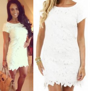Where did Vicky from Geordie Shore get her white lace cut out dress worn in her Twit Pic? - Style on Screen