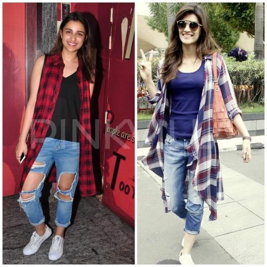 plaid,Faceoffs,Parineeti Chopra. Fashion Faceoff. Kriti Sanon