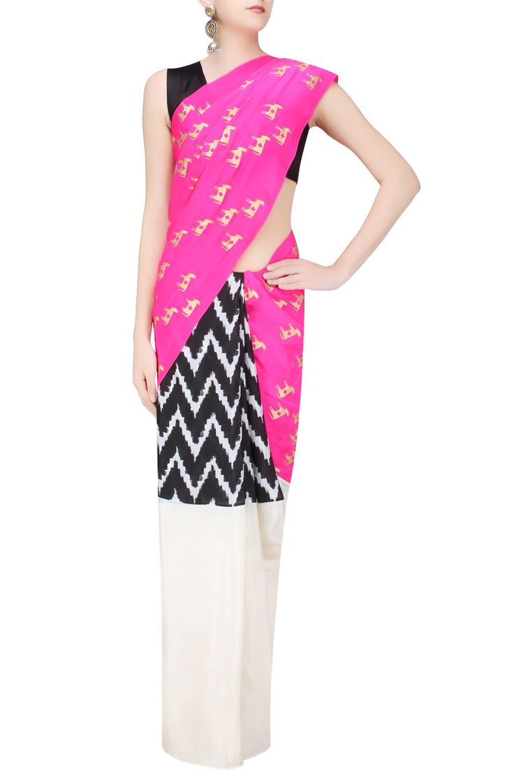 MASABA Pink and Ivory Horse Print and Chevron Ikat Saree with Moor Khadee Blouse Piece