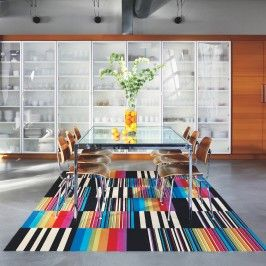 Vibrant rug in a neutral setting