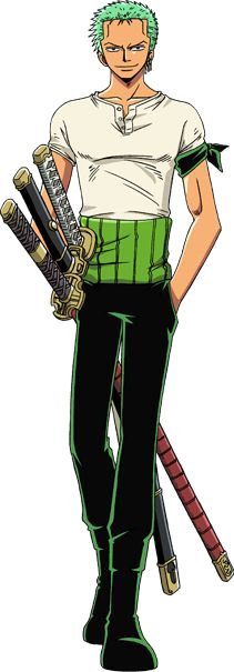 ONE PIECE Roronoa Zoro. Best character EVER!! I mean c'mon.... THREE KATANAS!