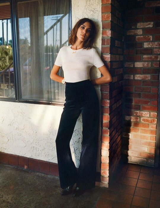 Alexa Chung in a t-shirt and corduroy flares for AC x AG