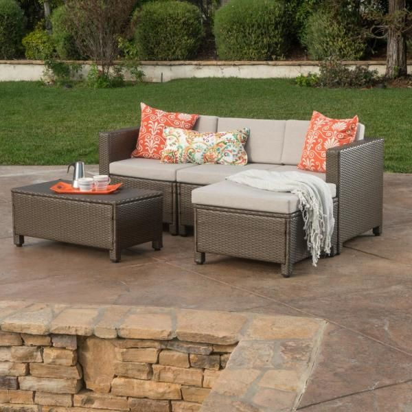 Hampton Bay Cambridge Brown Wicker Outdoor Patio Loveseat With Cushionguard Midnight Navy Blue Cushions 65 17148b3 The Home Depot Patio Furniture Layout Outdoor Furniture Cushions Aluminum Patio Furniture