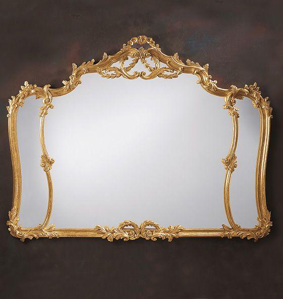 Louis XV horizontal mirror in hand-applied gold metal leaf