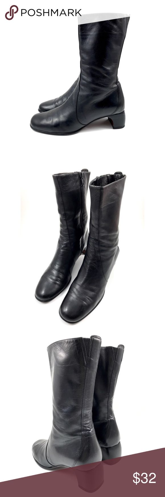 """VTG COLE HAAN City Italian black leather boots 7 B Vintage COLE HAAN black genuine leather combat boots. Made in Italy. Inner side full zipper. Tops have a bit of stretch attached to leather. Great condition, slight vintage wear on bottoms. Size 7 B. Heels measure 1 3/4"""". Cole Haan Shoes Combat & Moto Boots"""