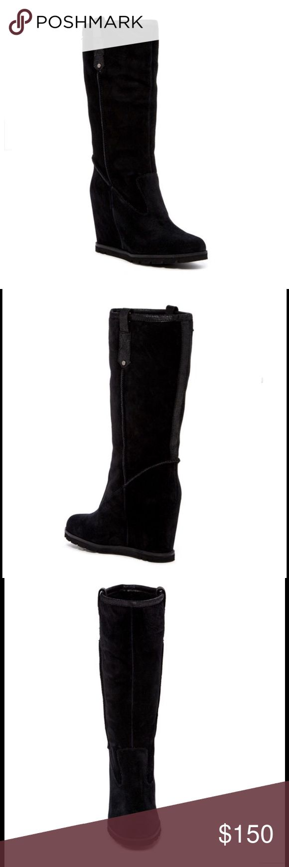 """UGG Genuine Shearling Tall Boot UGG Australia Soleil Genuine Shearling Tall Wedge Boot. New in box. Smooth, rich suede shapes a sophisticated knee-high boot with a sturdy wedge heel. The soft, cozy lining is made from genuine shearling that provides cozy warmth when the temperature drops. - Almond toe - Suede construction - Topstitched detail - Leather and genuine shearling lining - Pull-on - Wedge heel - Approx. 12"""" shaft height, 16"""" opening circumference - Approx. 4"""" heel UGG Shoes Heeled…"""