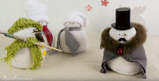 DIY - Φτιάξτε εύκολα και γρήγροα χιονάνθρωπο από κάλτσα και ρύζι (video)