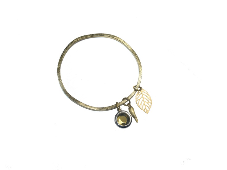 Sam Ubhi Costume Collection Gold Ripple Bracelet With Crystal, Horn and Leaf Charms
