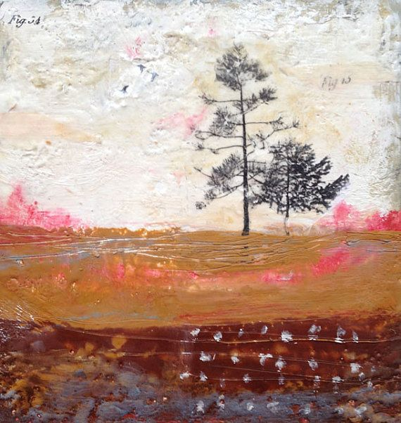 Encaustic Art, Autumn, Tree Art, Original Encaustic on Wood Panel, Mixed Media Art by Angela Petsis