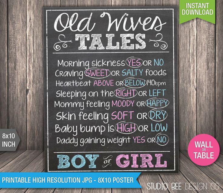 Old Wives' Tales Gender Prediction Poster - INSTANT DOWNLOAD - Printable - Gender Reveal Party - Chalkboard - DIY Print (BGsi01) by StudioBeeDesignCo on Etsy https://www.etsy.com/listing/251469921/old-wives-tales-gender-prediction-poster