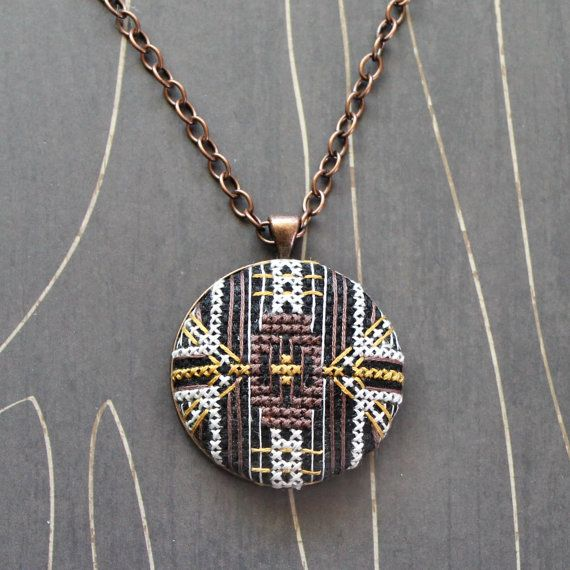 Florence Cross Stitch necklace/ pendant by TheWerkShoppe on Etsy, $44.00