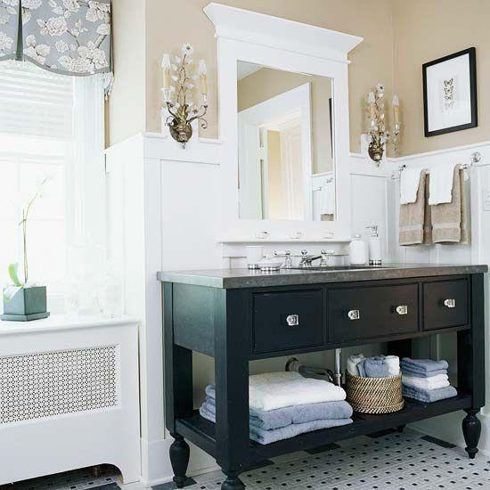 Photo Image Open Vanity Bath Storage