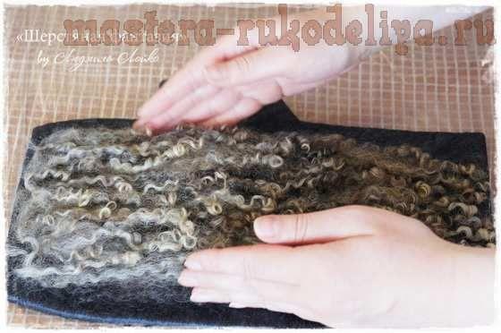 Мастер-класс по мокрому валянию: Митенки с кудряшками