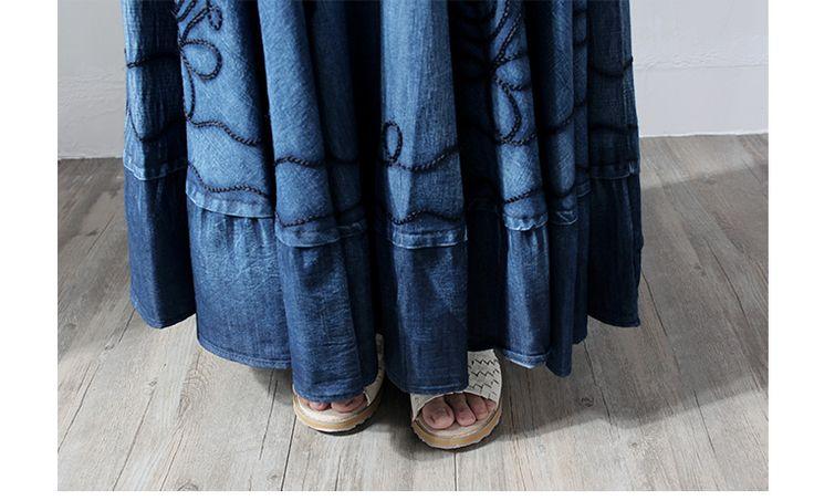 Makuluya лето осень женская кружева шить старинные Этническая Вышивка богемный сращены синие джинсовые длинные плиссированные юбки Женский 0 купить на AliExpress