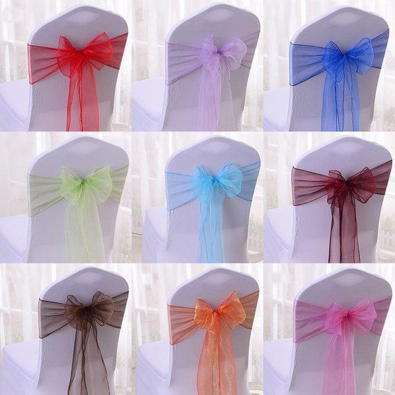 17 X 280cm Organza Decoration Chair Cover Sash Bow Ribbons For Events Party Home Garden Wedding Anniversary Decor Available In 34 Colours Diy Wedding Chair Covers Chair Covers Wedding Chair Decorations