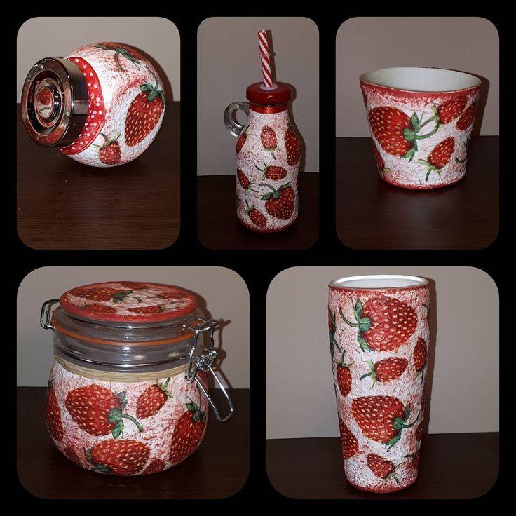 """0 kedvelés, 1 hozzászólás – special handmade decor (@biborvarazs) Instagram-hozzászólása: """"#strawberry #strawberrydecor #kitchendecor #biborvarazs #freeship #ebay #meska #etsy #canister…"""""""