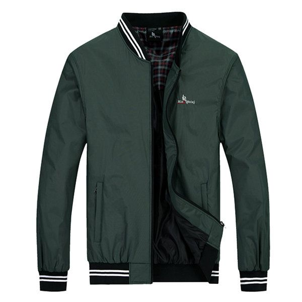 Sport Casual Embroidery Wind-Resistant Waterproof Baseball Stand Collar Bomber Jacket For Men