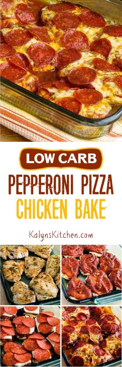 This Low-Carb Pepperoni Pizza Chicken Bake is the ultimate in low-carb comfort food, and the recipe has been a huge hit on the blog and this has been pinned 300+K times! [found on KalynsKitchen.com]