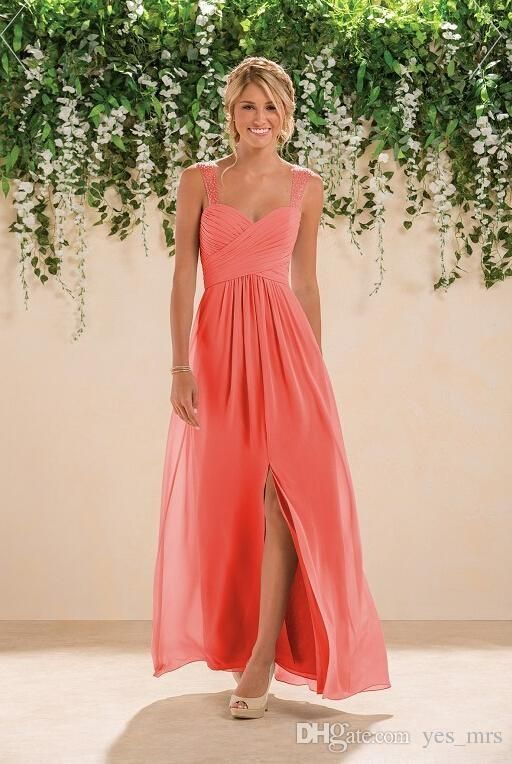 2016 Coral Bridesmaid Dresses Spaghetti Straps With Crystal Beaded Wedding Guest Wear Chiffon Split Ankle Length Party Maid of Honor Gowns Online with $82.42/Piece on Yes_mrs's Store | DHgate.com