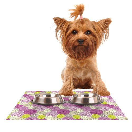 kess inhouse julie hamilton purple pink feeding mat for pet bowl 24