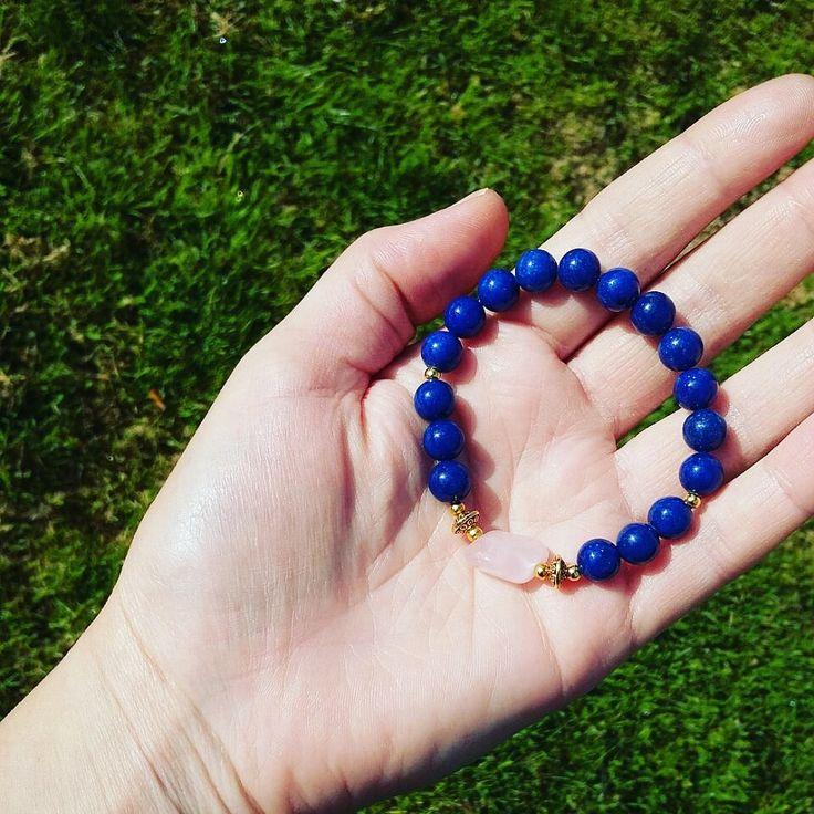 Lapis lazuli&Rose quartz healing protective love power gemstone mala Bracelet, Reiki Meditation yoga Bracelet, Fifth /Throat chakra mal