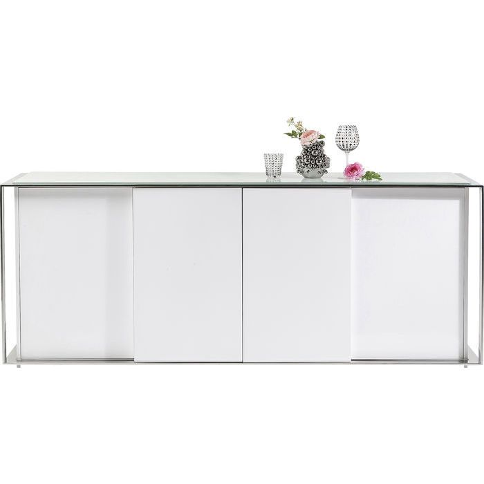Sideboard Vanity White 4Doors - KARE Design an elegant sideboard in glossy white with chrome frame. A first class furniture lifting your interior whereever you place it. #kare #karedesign #sideboard #white glossy #shine #luxury #elegant #laquered #furniture #interior #dream #vanity #weiß #hochglanz #luxus