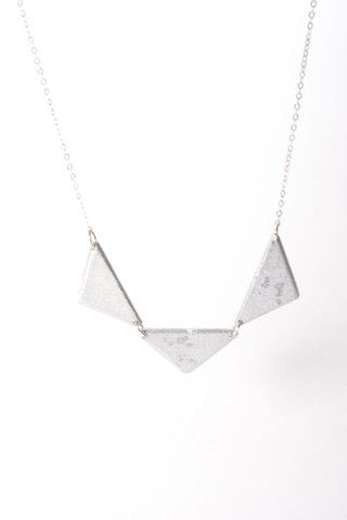 Trio Triangle Necklace-Made of recycled bomb. Fair trade. Read the story at www.sustainlux.com