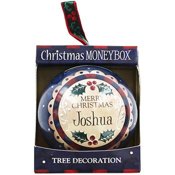 Personalised Money Box Bauble - Joshua | Money Boxes at The Works