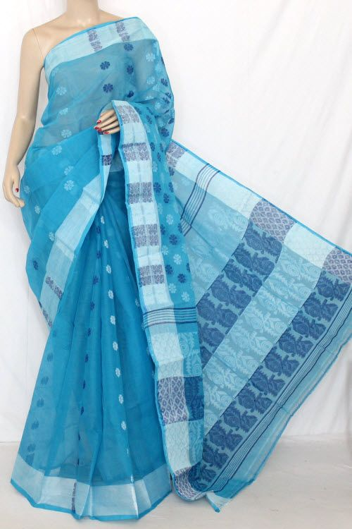 Pherozi Blue Handwoven Bengal Tant Cotton Saree (Without Blouse) Jamdani 13871 , Buy Jamdani Tant Sarees online, Pure Jamdani Tant Sarees, Trendy Jamdani Tant Sarees ,Exclusive Collection , online shopping india, sarees , sweets, cameras, shoes, watches, appliances, apparel, sweets online in india | www.maanacreation.com