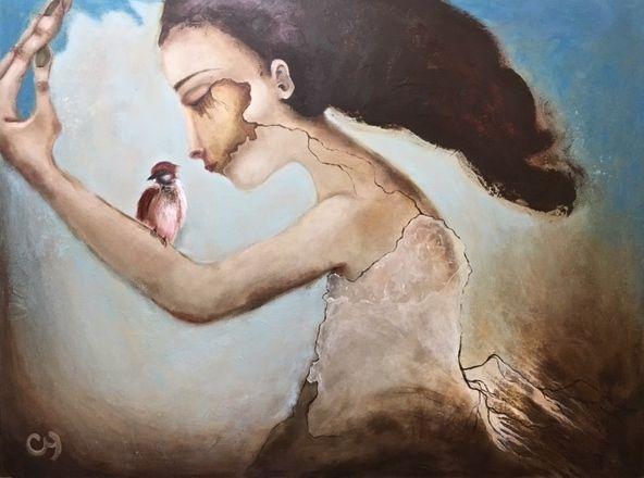 Rhizome par Christyne Proulx/ ©2016/ Acrylique sur bois /36X48/ figurative and contemporary art/ acrylique, art painting, Street Art (Urban Art), Canvas, Women, Portraits, femme, street art, patchwork, peinture, contemporain, abstrait, tableau street art,expressionnisme, surréaliste.