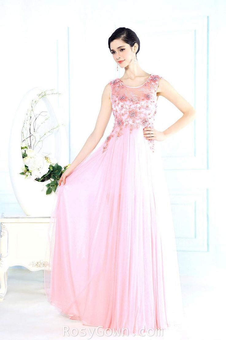 illusion #pink jewel neck #sleeveless floral long formal #dress