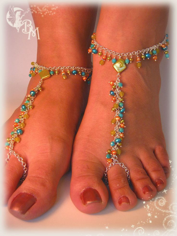 Beaded Barefoot Sandals in Greens and Blues. $102.00