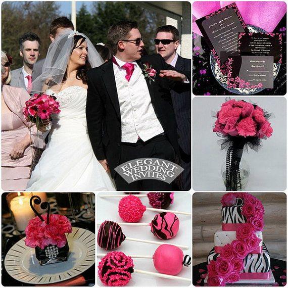 summer fall wedding ideas, Fuschia and black Wedding Invitations Set, fuschia adn black wedding theme