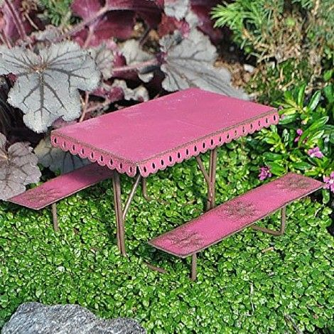 Metal Picnic Table www.teeliesfairygarden.com Aside from playing, fairies love to have picnics too! This Metal Picnic Table is a perfect spot for their picnic and snack time. #fairytable