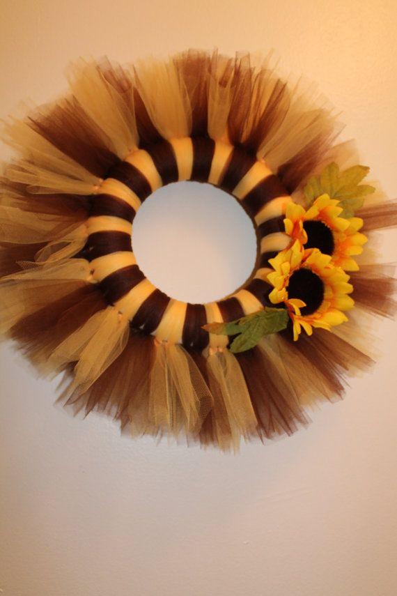 Sunflower Tulle Wreath by ideasbyjamie on Etsy, $20.00