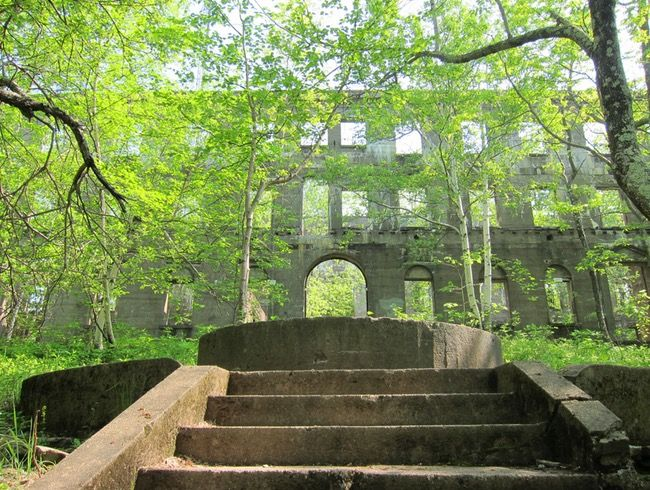 Woodstock, NY, Overlook Moutain Trail to the Overlook Mountain House & Hotel haunted & cryptic ruins.