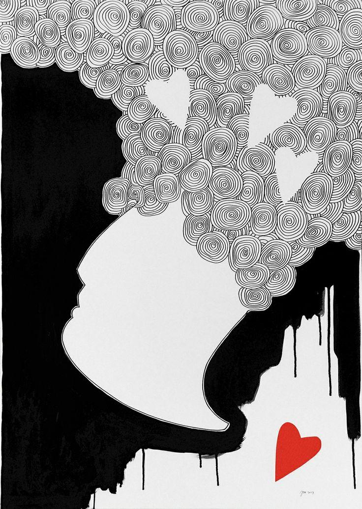 """andrea mattiello """"L'amore quando meno te lo aspetti"""" acrilico, pennarello e collage su laminil cm 70x100,5; 2013 #arte #contemporanea #artista #emergente #art #contemporaryart #amore #love #sanvalentino"""