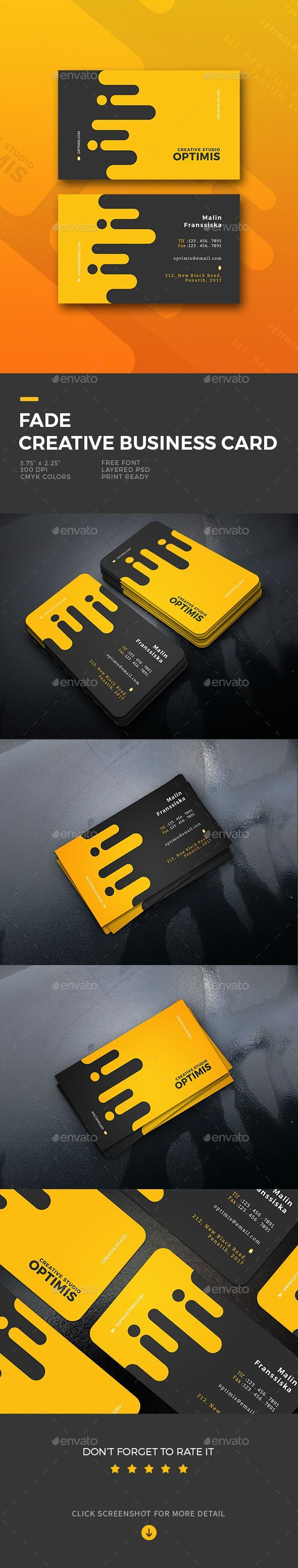 Fade #Creative Business Card - #Business #Cards #Print Templates Download here: https://graphicriver.net/item/fade-creative-business-card/19634383?ref=alena994