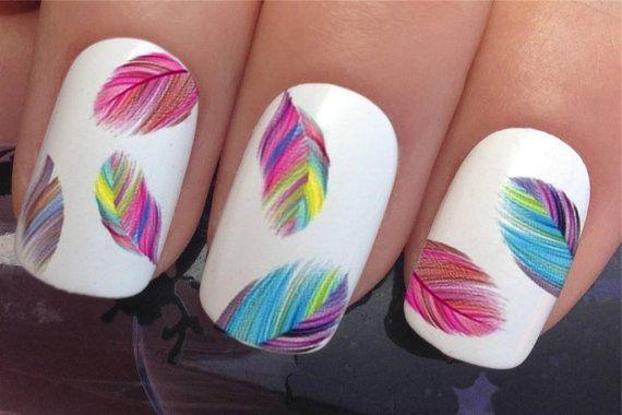 uñas etiquetas #619 multi arco iris plumas penachos agua transferencias pegatinas manicura arte set x 20