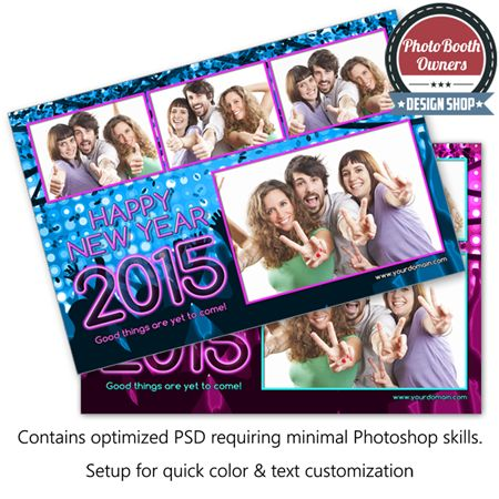 http://www.photoboothtemplates.com/product/new-year-party-celebration-postcard/  An eye-popping new year theme photo booth template perfect for the most memorable and wonderful time of the year. This template features a colorful explosion of confetti in the background with bright lights and cheering crowd. This design is perfect for any holiday event. This template is a postcard layout featuring 4 photos in a 3×1 photo arrangement.