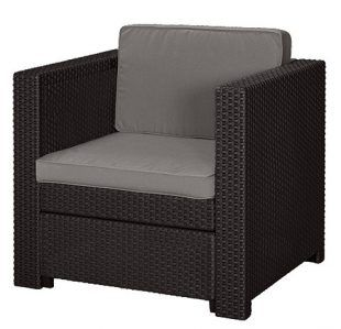 Phuket fotel műrattan kerti bútor Barna, taupe párnával