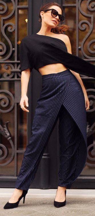 Frassy Navy Pinstripe Drape Trousers Fall Inspo