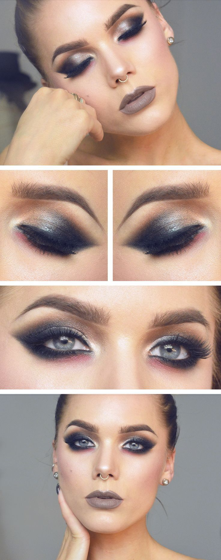 Linda Hallberg - smokey eye brown gray lips