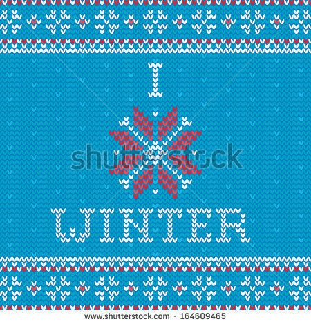 Knitted Christmas greeting card - I love winter  - stock vector. Knitting ornaments.