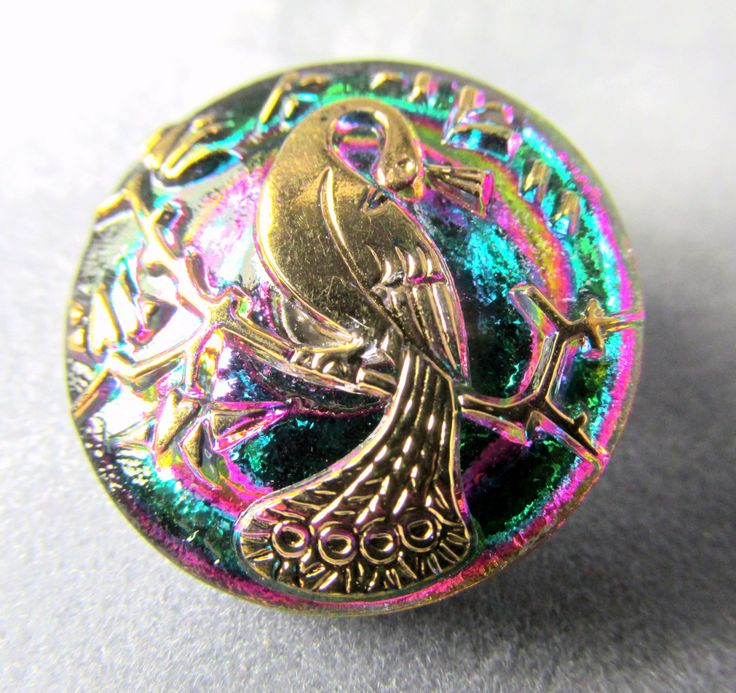 Czech Glass Gold Peacock 22mm Button in Vitrail Green AB