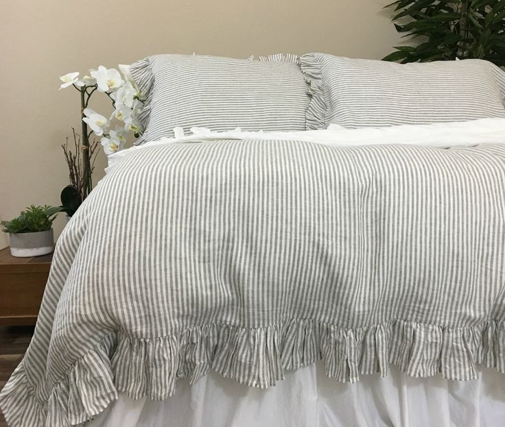 Ruffled Pinstripe Duvet Cover in Grey and White, Natural Linen Ruffle Bedding, Weaved stripes on both sides, Elegant Classic! Good night all!  http://www.superiorcustomlinens.com/grey-and-white-pinstripe-ruffle-duvet-cover-weaved-stripes-on-both-sides-elegant-classic/  #shabbychicbedding #farmhouse, #farmhousestyle #farmhousedecor  #cottagestyle #cottageliving #mycottageinstincts #farmhousechic #farmhousebedroom #farmhousebedding  #rufflebedding #ruffles #ruffleswithlove #ruffles